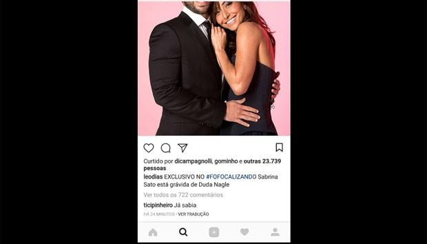 Ticiane Pinheiro comentou post de Léo Dias confirmando gravidez  (Foto: reprodução )