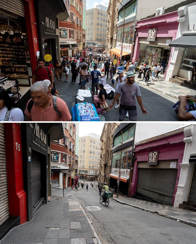 A Ladeira Porto Geral, porta de entrada para a movimentada Rua 25 de Março, é vista cheia na segunda-feira (16) e esvaziada nesta sexta (20), após o impacto das medidas de prevenção contra o coronavírus — Foto: Marcelo Brandt/G1