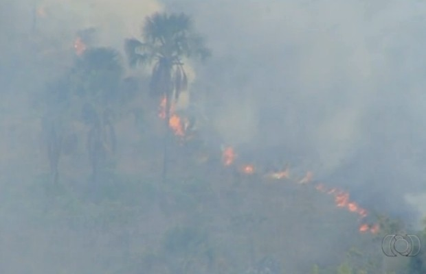 Incêndio atinge Parque dos Pireneus em Pirenópolis, Goiás (Foto: Reprodução/TV Anhanguera)