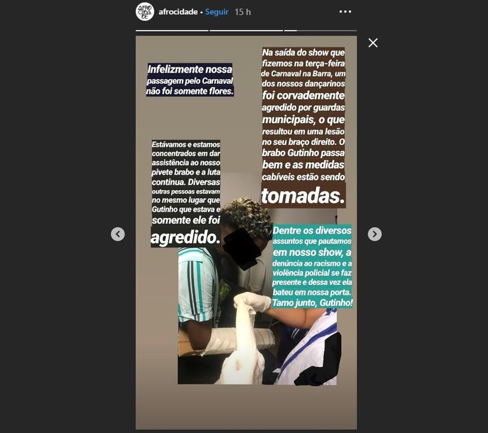 Denúncia foi feita nas redes sociais do grupo — Foto: Reprodução/Redes Sociais