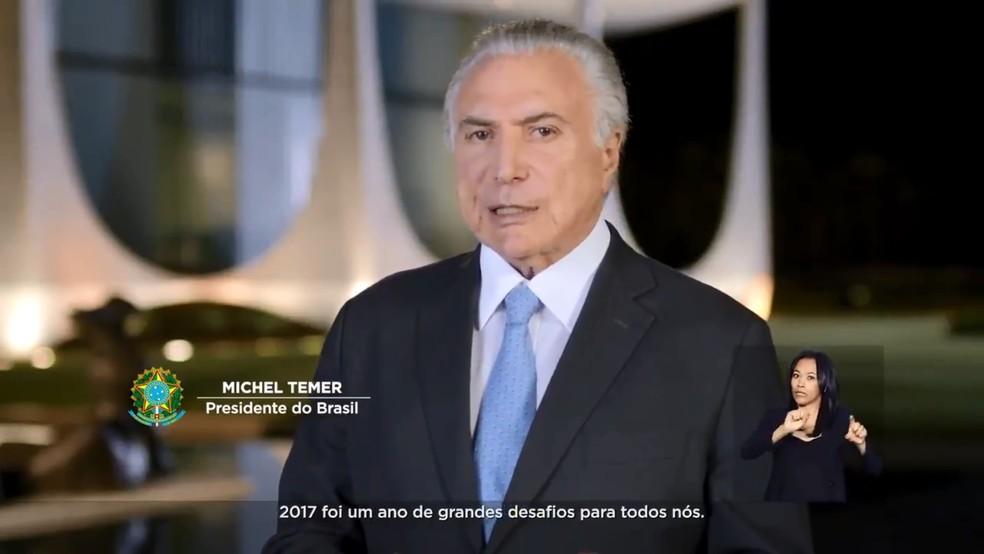 Presidente Michel Temer faz pronunciamento de Natal e defende reforma da Previdência (Foto: Reprodução/NBR)