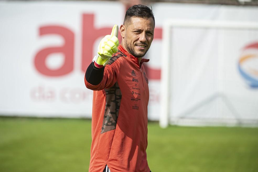 Diego Alves não levou gol nos últimos 4 jogos do Flamengo — Foto: Alexandre Vidal/Flamengo