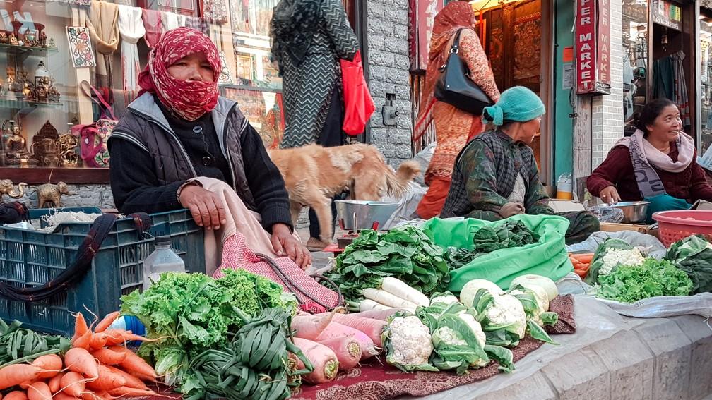 Feirinha de alimentos orgânicos no centro de Leh, em Ladakh, na Índia (Foto: Rafael Miotto / G1)