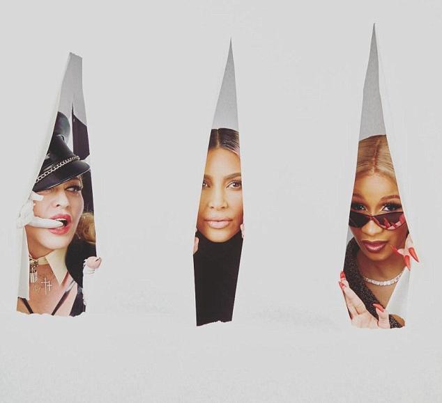 A socialite Kim Kardashian em meio a Madonna e a rapper Cardi B. (Foto: Instagram)