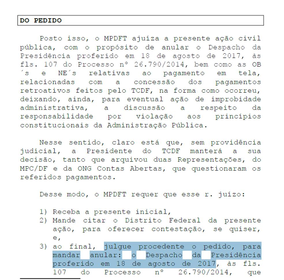 Trecho da ação civil pública ajuízada pelo Ministério Público do DF (Foto: Reprodução)