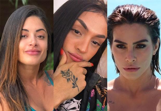 Pabllo Vittar (centro) foi comparada com Aline Riscado (esq) e Cleo Pires (dir) (Foto: Reprodução/Instagram)