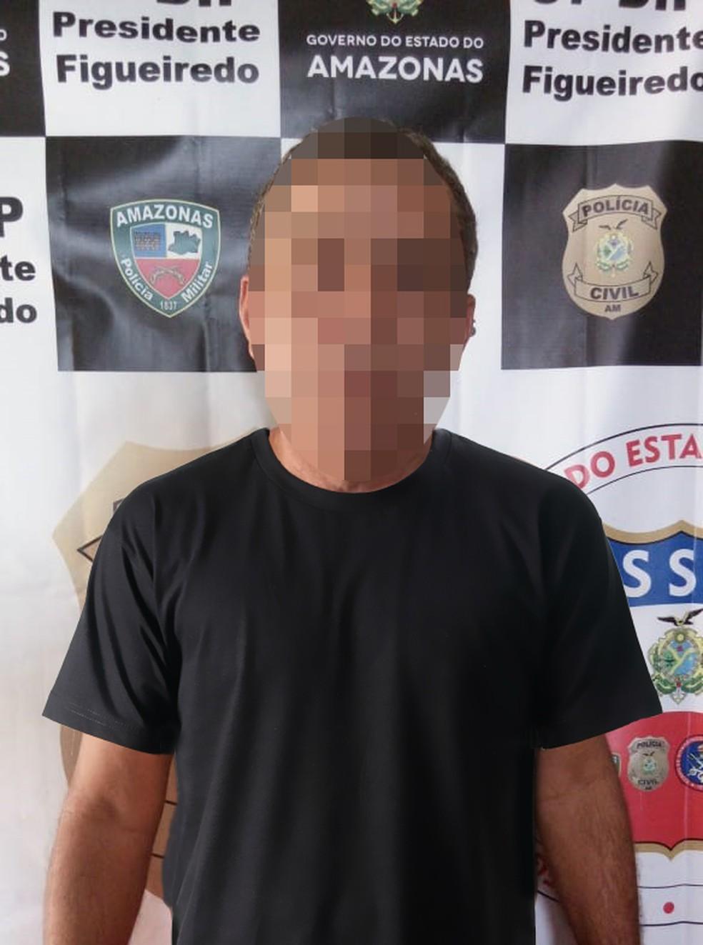 Suspeito de 55 anos foi preso em flagrante pela equipe do 37º DIP, em Presidente Figueiredo  — Foto: Divulgação/Polícia Civil do Estado do Amazonas
