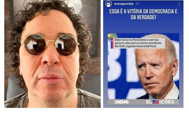 Walter Casagrande publicou nos stories de seu Instagram e citou 'vitória da democracia e da verdade' (Foto: Reprodução/Instagram)