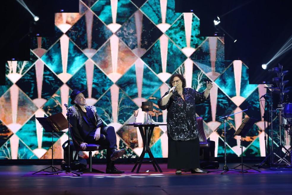 """""""Filho da Mãe"""" é um show musical em que Paulo Gustavo e a mãe cantam e contas histórias divertidas de seus anos de convivência. — Foto: Rubens Cerqueira."""