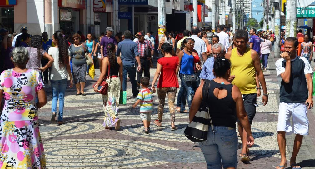 Calçadão no Centro de Aracaju — Foto: Patricia Carvalho / G1