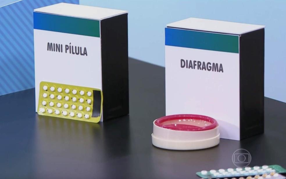 Métodos contraceptivos tradicionais, como a pílula e o diafragma, são distribuídos pelo Ministério da Saúde (Foto: TV Globo/Reprodução)