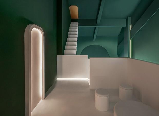O verde, branco e dourado são as principais cores do quarto Maze (Foto: Chao Zhang/Designboom/Reprodução)