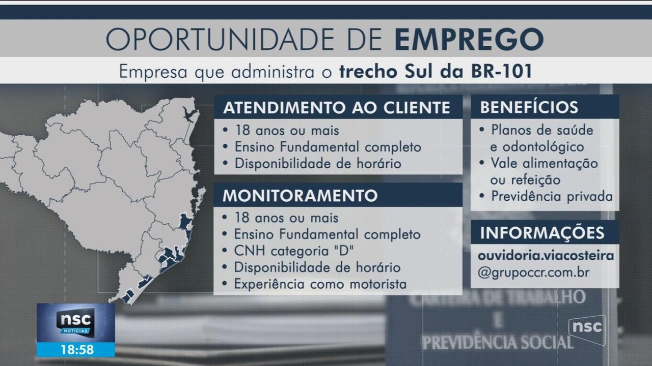 Empresa que administra trecho Sul da BR-101 abre vagas de emprego