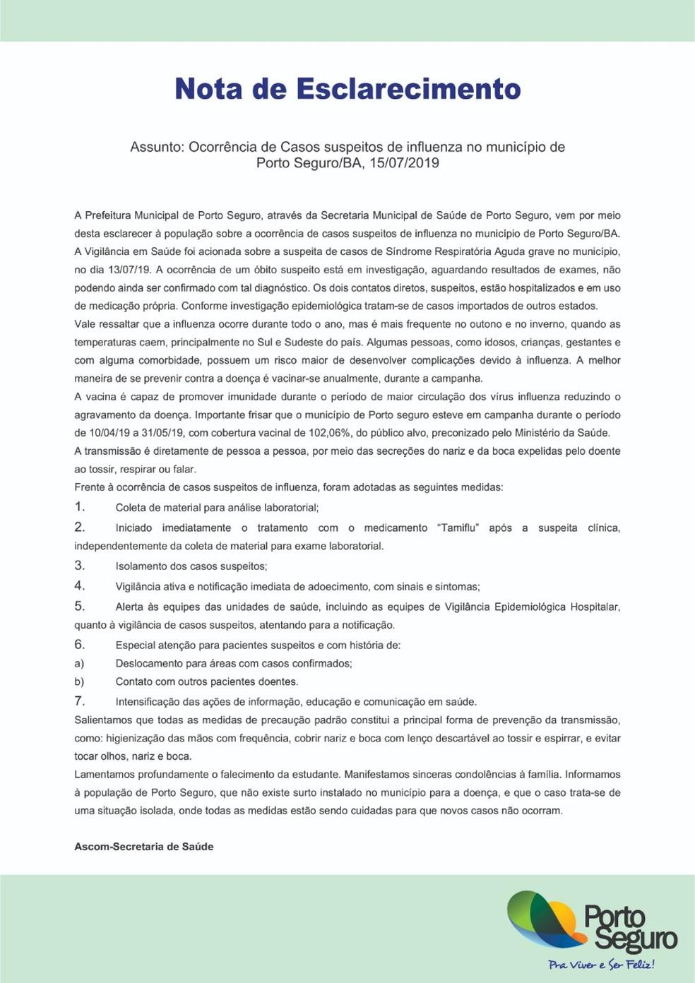 Secretaria de Saúde de Porto seguro divulgou nota sobre caso suspeito de H1N1 — Foto: Divulgação/Prefeitura de Porto Seguro
