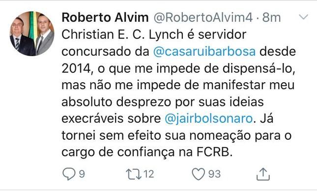 Pelo Twitter, Roberto Alvim desautoriza nomeação na Casa de Rui Barbosa