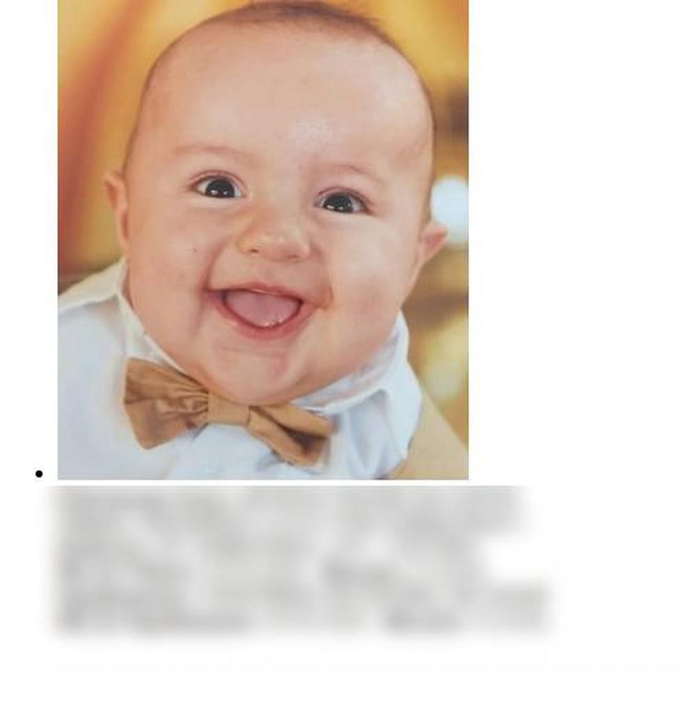 Arthur Tesori Da Costa, de 9 meses, morreu afogado em Sinop — Foto: Divulgação