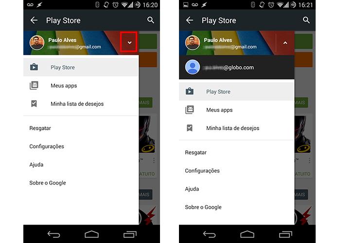 Verifique quais contas estão cadastradas no Google Play (Foto: Reprodução/Paulo Alves)