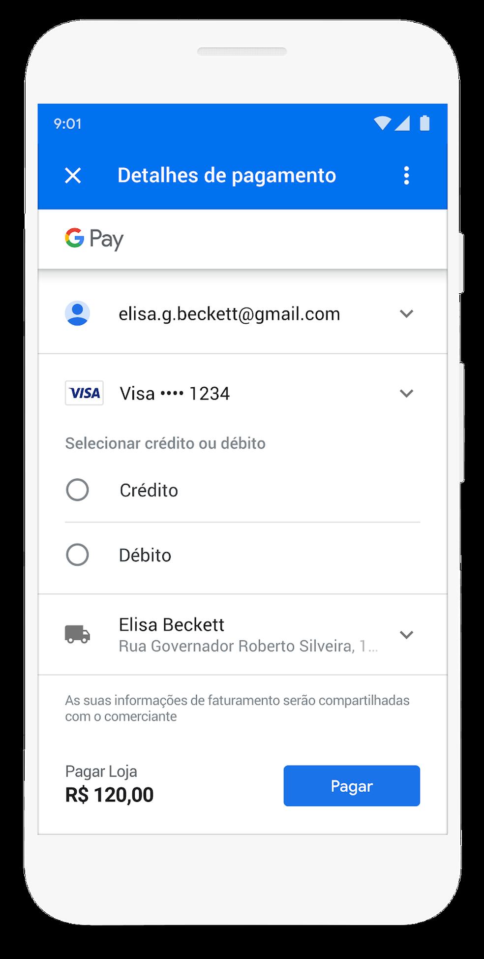 """Google agora pergunta """"crédito ou débito?"""" durante as compras na internet. — Foto: Divulgação/Google"""