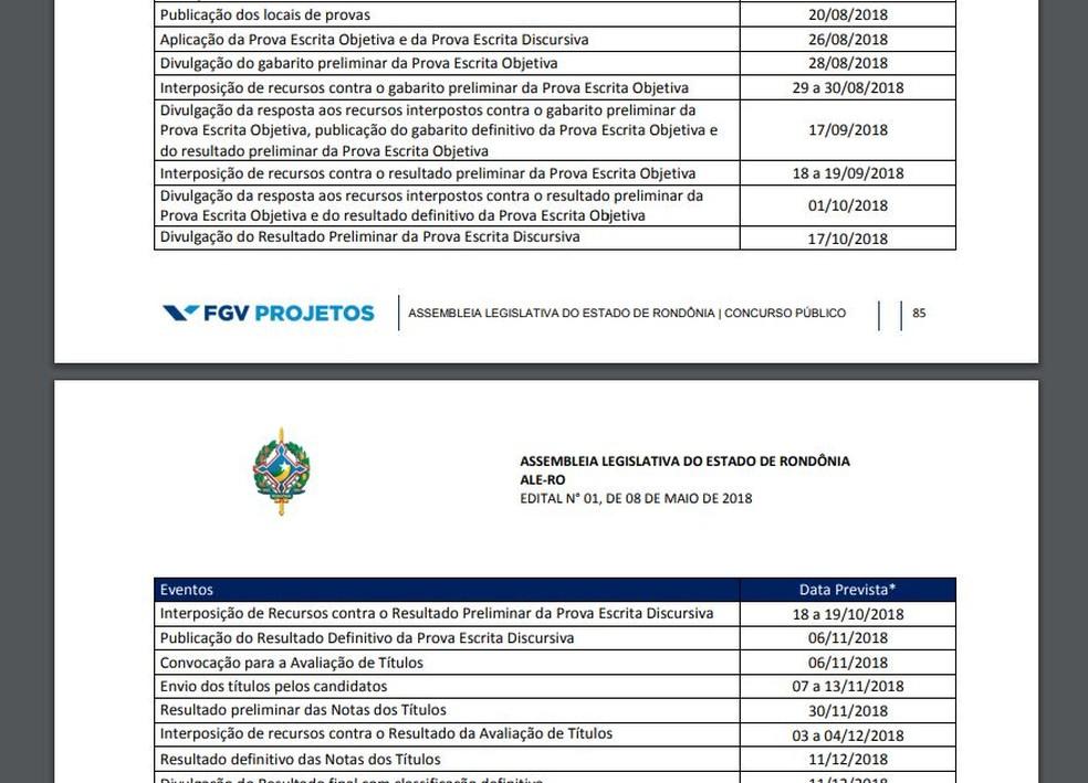Edital da FGV previa divulgação de notas em 17 de outubro — Foto: Reprodução