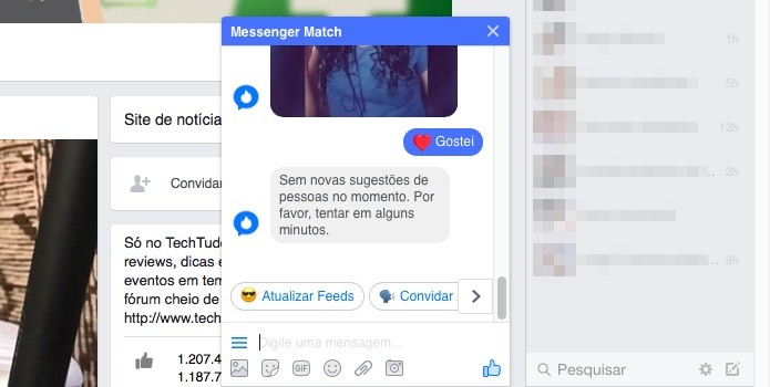 'Tinder' embutido no Facebook Messenge