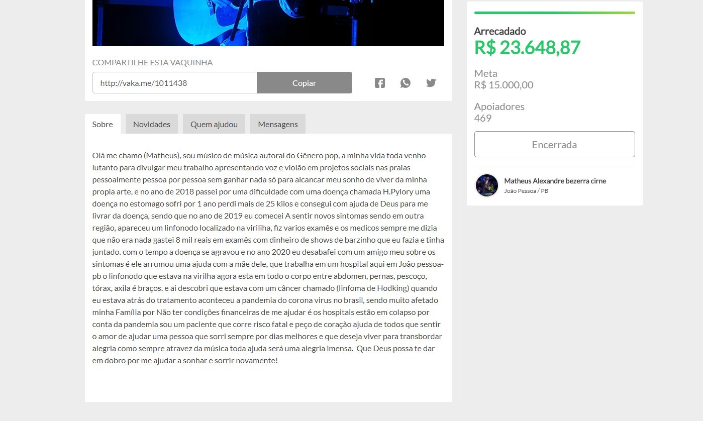 Músico é denunciado à polícia após arrecadar R$ 23 mil para combater câncer que não tinha
