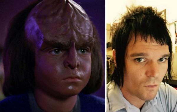 O ator Jon Paul Steuer em Star Trek e em uma foto recente (Foto: Reprodução/Facebook)