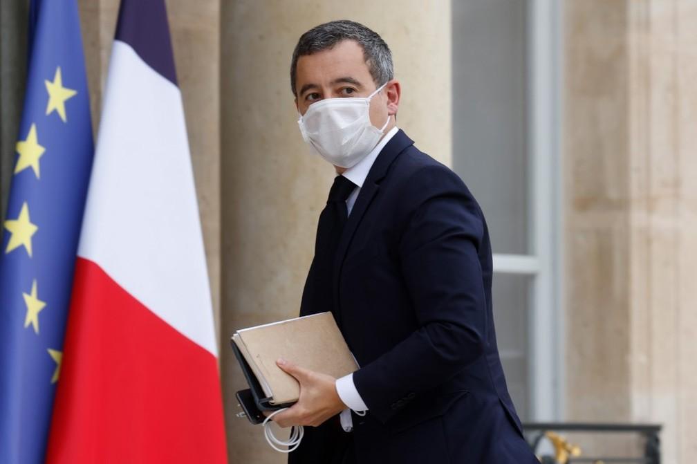 Ministro do Interior da França, Gérald Darmanin, chega para reunião no Palácio do Eliseu nesta segunda (19) — Foto: Ludovic Marin/AFP