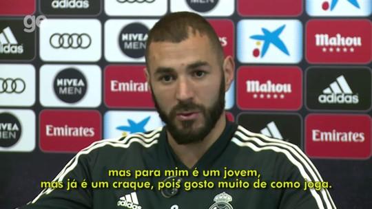 """Benzema chama Vinicius Junior de craque, e jovem agradece: """"Sempre me dando moral"""""""