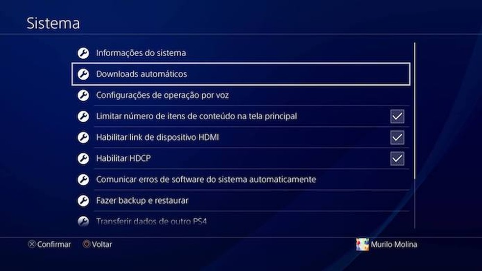 0794c9df94 Clique X em Downloads Automáticos no menu do PS4 (Foto  Reprodução Murilo  Molina)