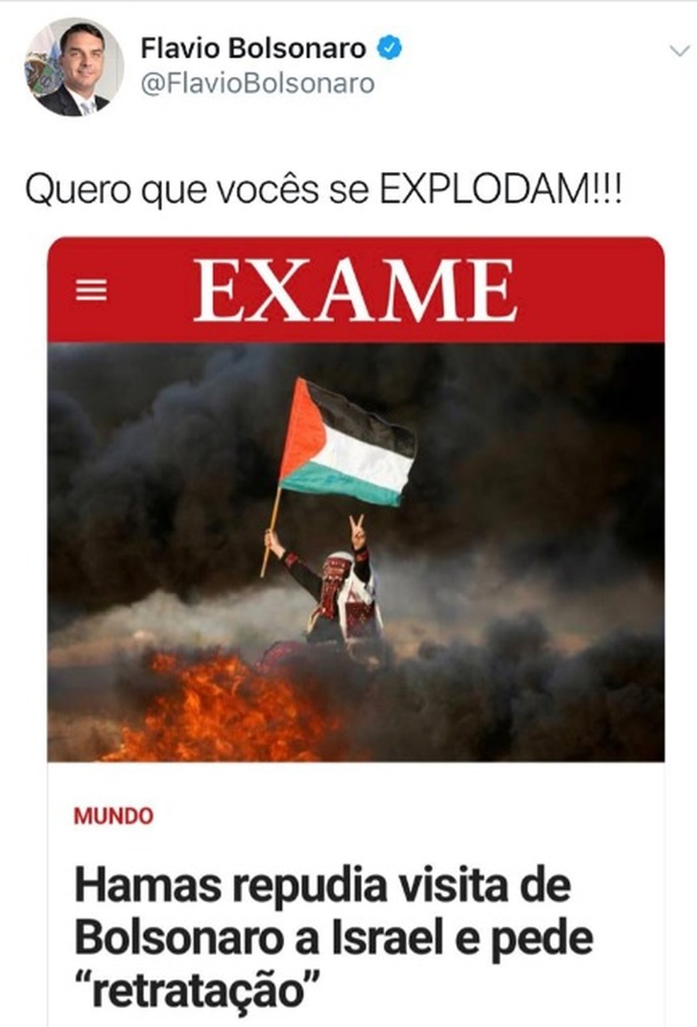 Mensagem publicada pelo senador Flavio Bolsonaro (PSL-RJ) — Foto: Reprodução/redes sociais
