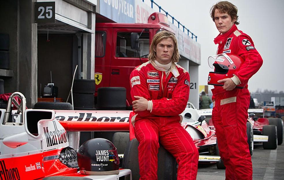 Cena do filme 'Rush', sobre Niki Lauda e James Hunt — Foto: Reprodução