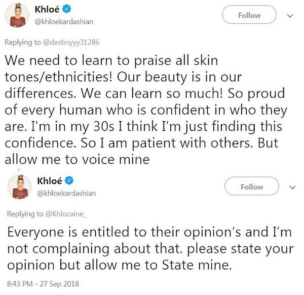 As críticas de Khloé Kardashian aos comentários racistas contra sua filha nas redes sociais (Foto: Twitter)