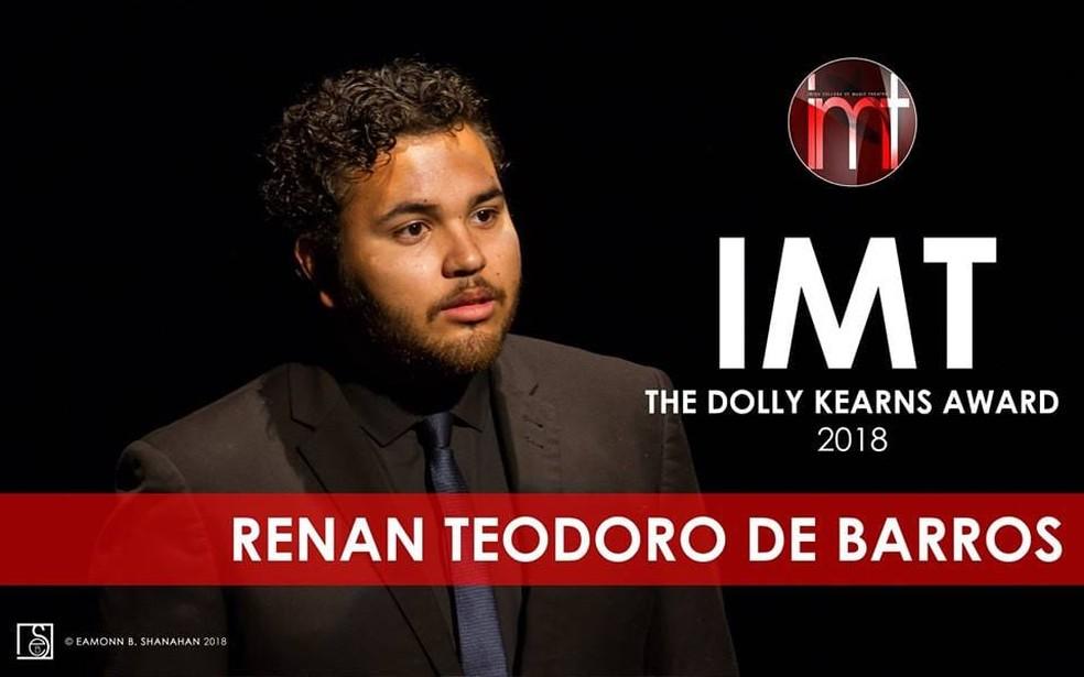 Neste ano, Renan foi o ganhador do prêmio de 'Melhor Performance do Ano' — Foto: Arquivo Pessoal