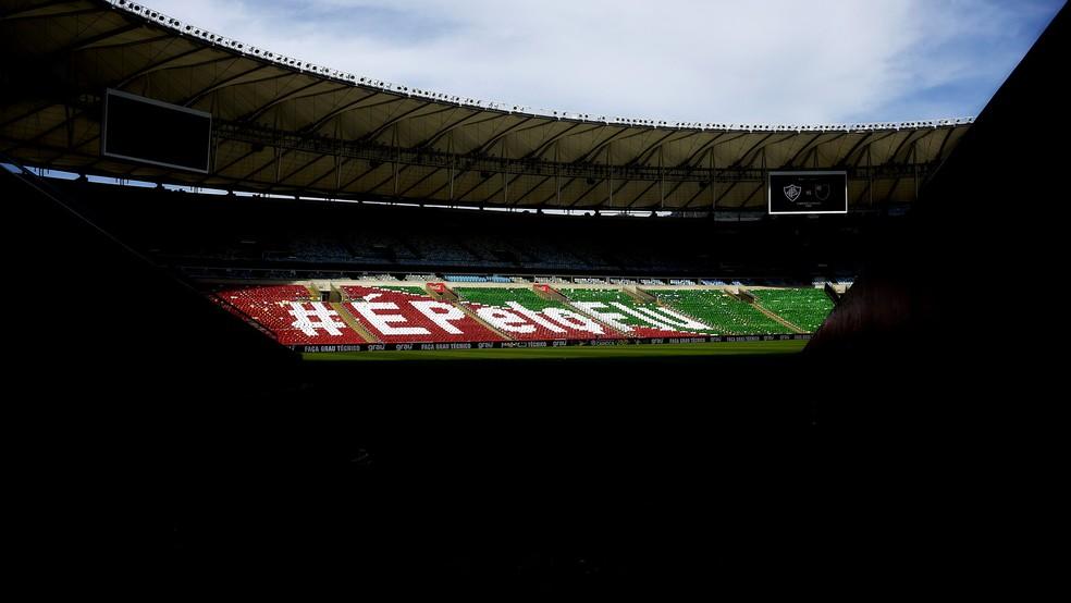 Mosaico preparado para a torcida do Fluminense para a final do Carioca 2020 — Foto: Mailson Santana FFC