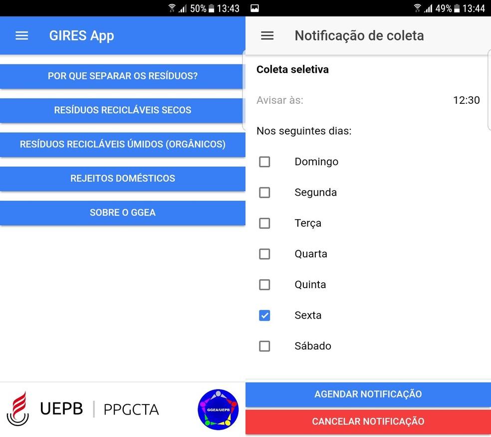 Telas do aplicativo 'GiresApp' desenvolvido pelo estudante da UEPB (Foto: Reprodução/GiresApp)