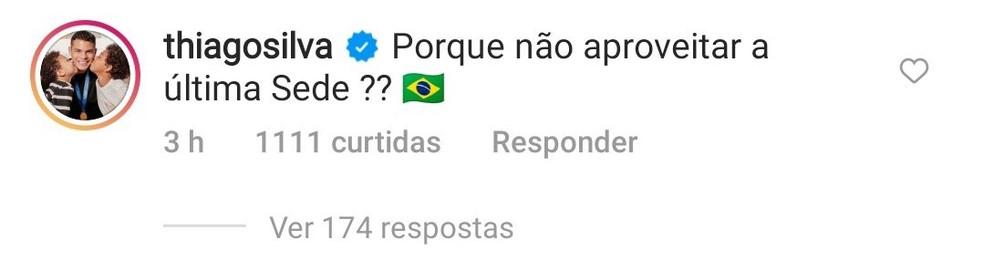 Thiago Silva publica comentário apoiando a Copa América no Brasil — Foto: Reprodução