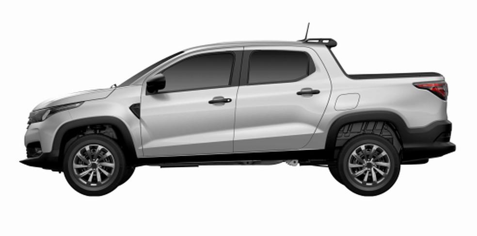 """Versão intermediária da Fiat Strada; lateral tem aplique no para-lama e para-choque """"pontudo"""" — Foto: Reprodução/INPI"""