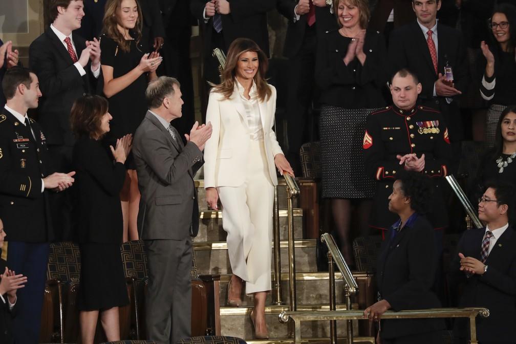 A primeira-dama Melania Trump chega ao Congresso americano para assistir ao discurso do Estado da União (Foto: J. Scott Applewhite/ AP Photo)