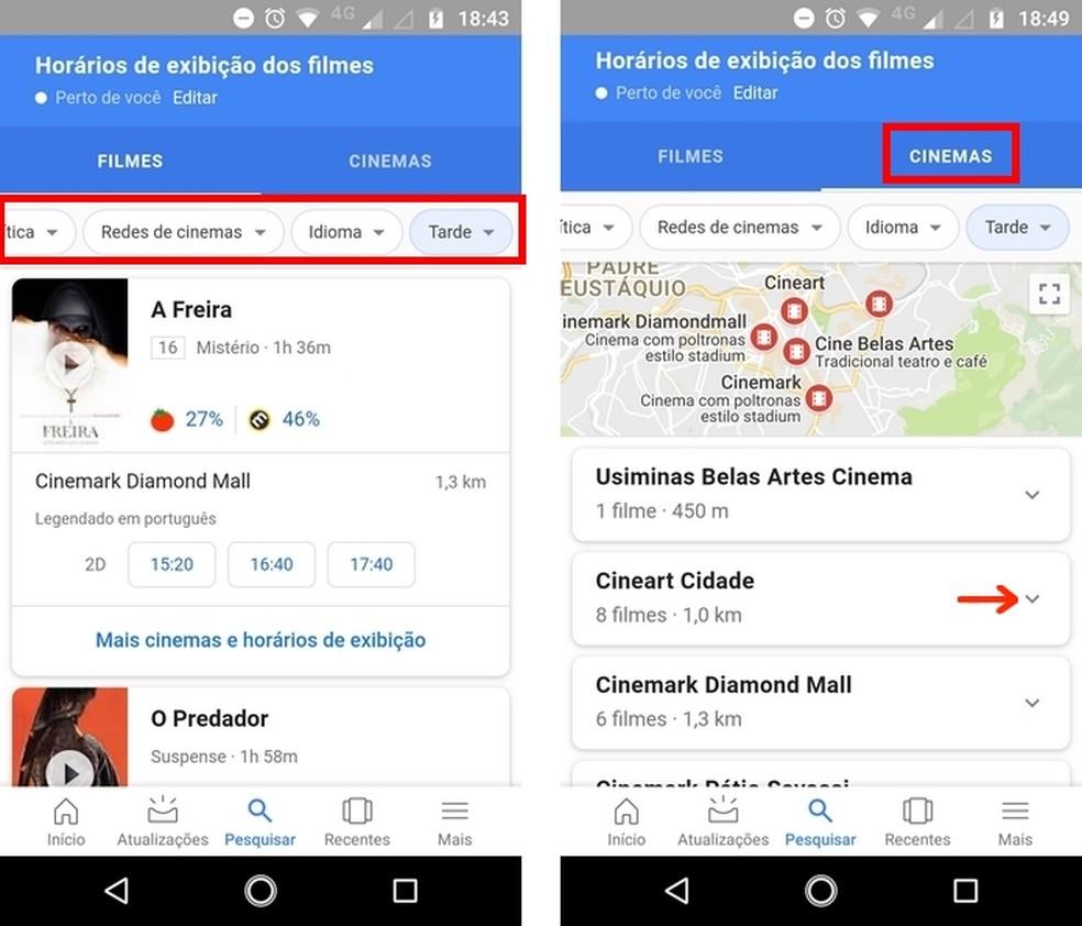 Veja resultados por filme e salas de cinema após aplicação de filtros no app do Google — Foto: Reprodução/Raquel Freire