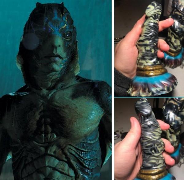 O monstro de A Forma da Água e o vibrador inspirado no personagem (Foto: Reprodução/Divulgação)