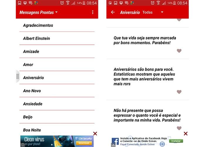 App permite escolher textos e editar antes de mandar no WhatsApp (Foto: Reprodução/Barbara Mannara)