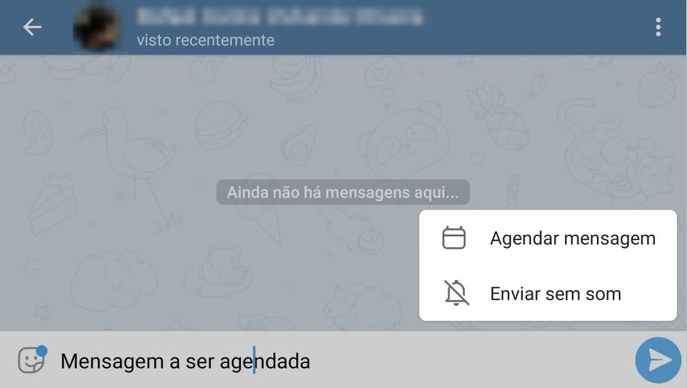 Telegram possui opções adicionais para o envio de mensagens, inclusive agendamentos. Eles funcionam mesmo que seu telefone não esteja ligado.  — Foto: Reprodução