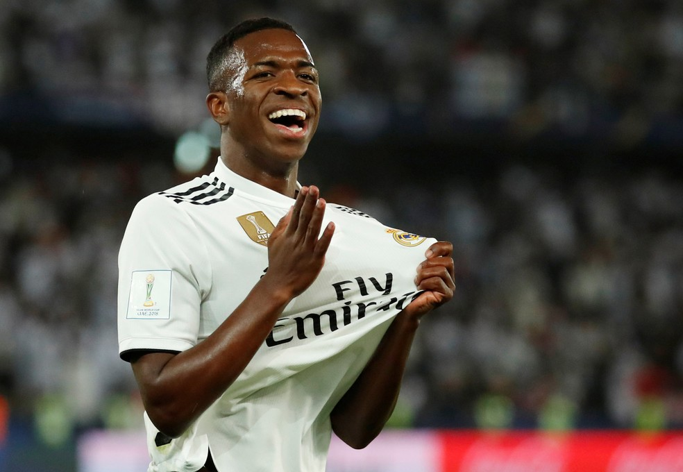 Vinicius Junior comemora gol do Real — Foto: Andrew Boyers/Reuters