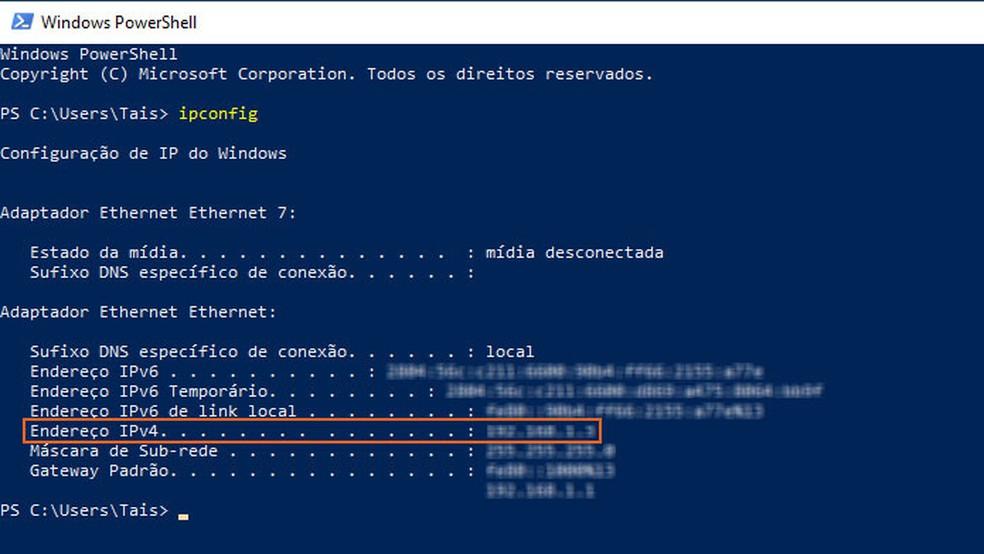 """Anote o número de IP em """"Endereço IPv4"""" — Foto: Reprodução/Tais Carvalho"""