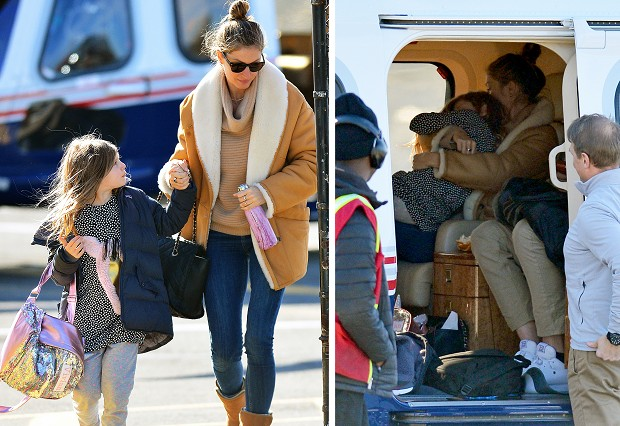 Gisele Bundchen viaja de helicóptero particular com os filhos (Foto: The Image Direct/The Grosby Group)