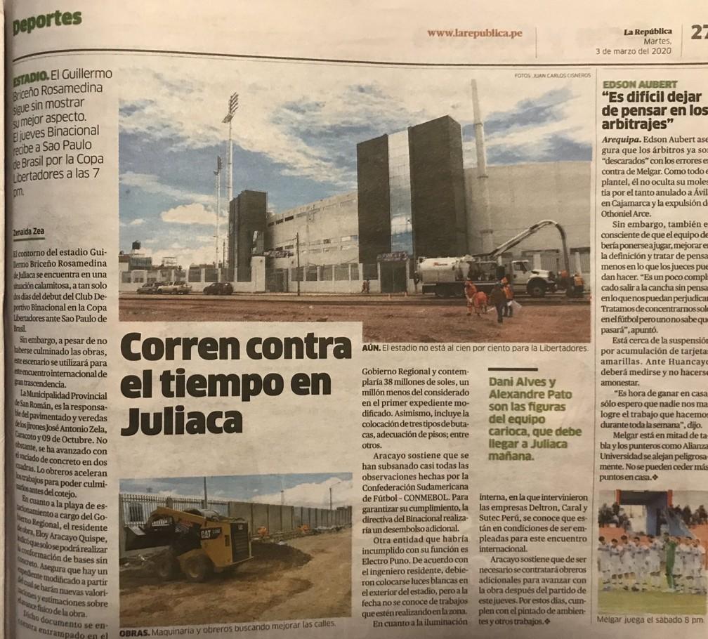 Jornal peruano relata dificuldades em torno do estádio em Juliaca — Foto: Reprodução