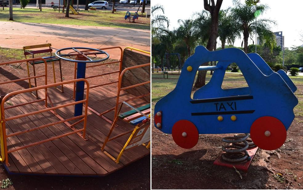 Brinquedos adaptados para crianças com e sem deficiência são instalados em parques de Ribeirão Preto, SP — Foto: Pedro Martins/G1