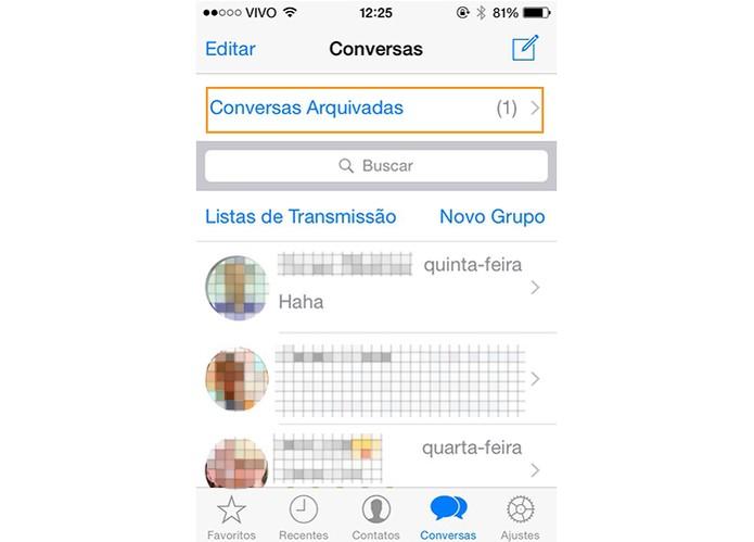 Selecione a tela de conversas arquivadas no WhatsApp pelo iOS (Foto: Reprodução/Barbara Mannara)