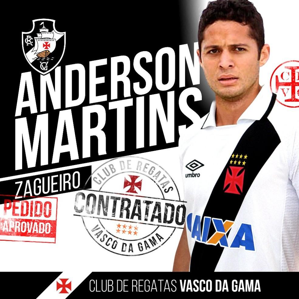 Anderson Martins Vasco (Foto: Twitter/Vasco)