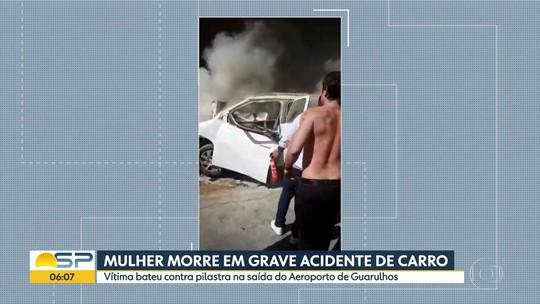 Mulher morre em acidente de carro na saída do Aeroporto de Cumbica